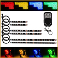 6pcs RGB motorcycle led strip light kit neon glow strip with Remote Controller Scooter led strip light kit