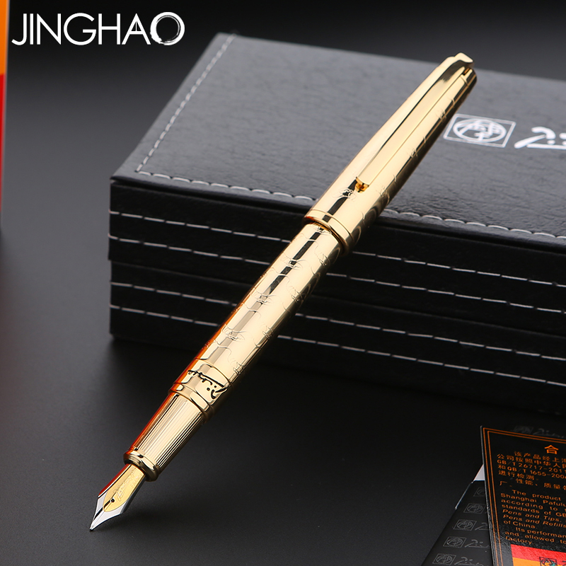 все цены на Luxury Gift Writing Stationery Pimio 918 Gold Fountain Pen 0.5mm Iraurita Nib Metal Inking Pens with an Original Gift Box