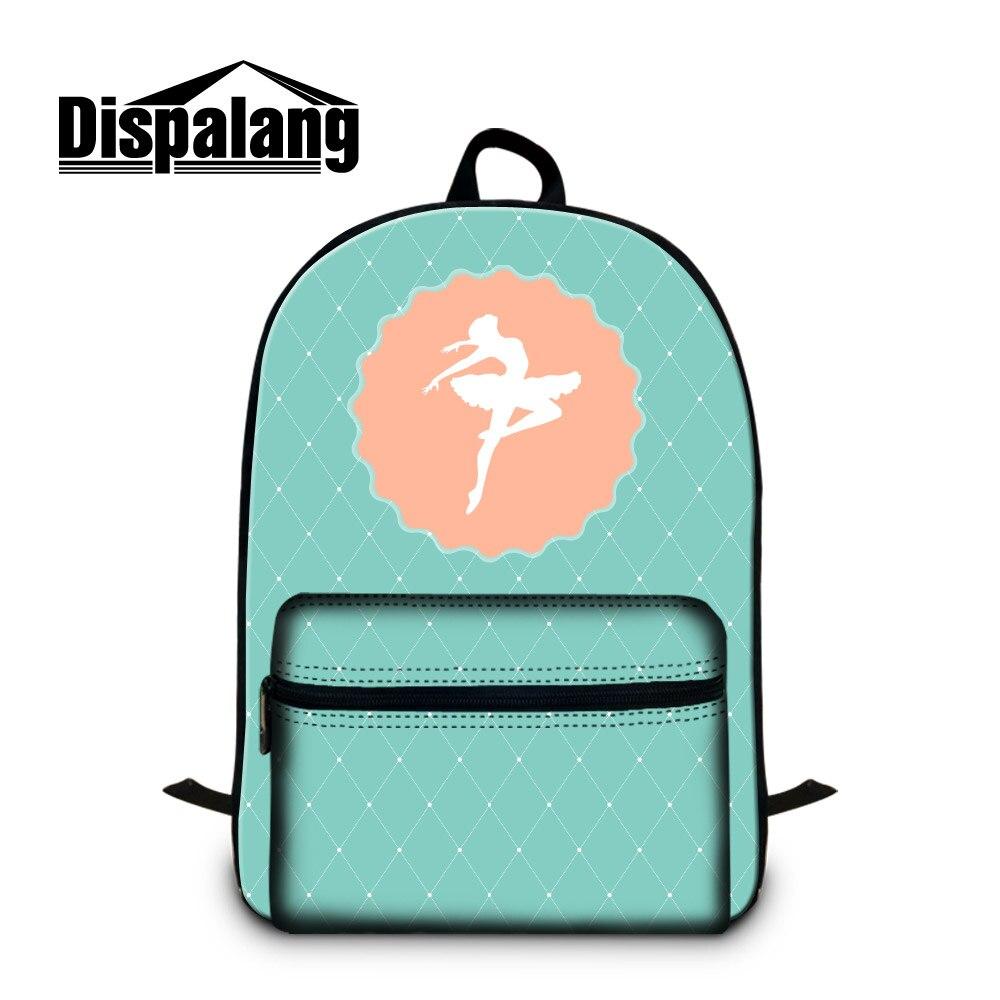Dispalang Ballet Girls School Backpack Light Green Bookbag for Children with Laptop Sleeve Cute Mochilas Computer Back Pack Kids