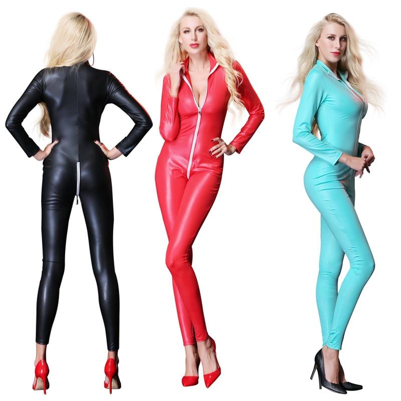 Buy Sexy Faux Leather Jumpsuit Women Night Clubwear Wet Look Vinyl Catsuit Latex Bodysuit Zipper Open Crotch PVC Leotard Costume