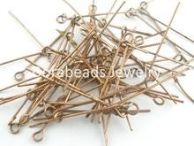 Doreen Box Lovely 300 PCs Copper Tone Eye Pins Findings 50×0.7mm (B03593)