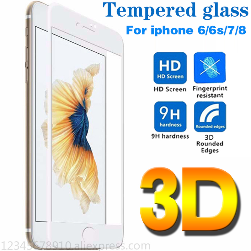 3D glass on the for iphone 7 6 protective glass for iPhone 6 for iPhone x 8 7 6s plus Full screen coverage protection Tempered iphone