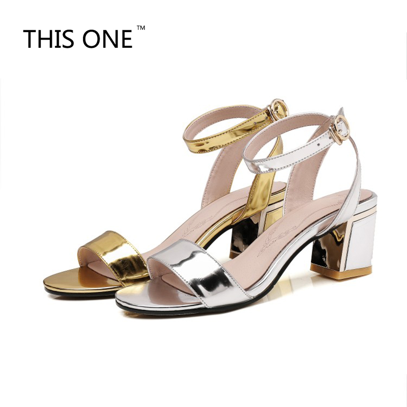 THIS ONE Women's Shoes Europe and the United States Wind 2018 Summer New Open Toe Sexy 6cm heel Sandals Gold silver 35-45 united as one