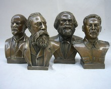 Collectible Decorated Old Bronze Carved Lenin statue, Stalin statue , Marx sculpture ,Engels Memorial Sculpture