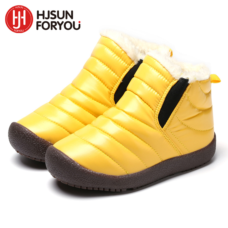 2018 New Winter Children Shoes Leather Waterproof Martin Boots For Brand Girls Boys Rubber Boots Fashion Sneakers Baby Snow Boot