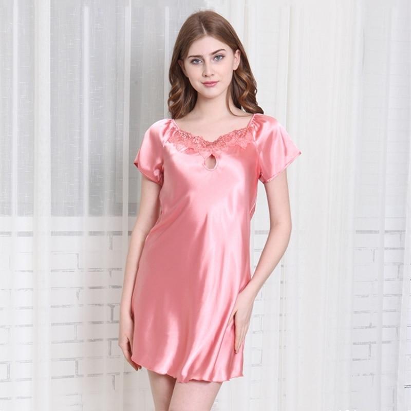 Faux Silk Women Nightgowns Satin Nightdress Short Sleeve Girl Sleepshirts Female -8835