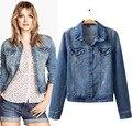 Женщины моющийся деним куртка деним пиджаки дамы джинсы пальто куртка 4L261