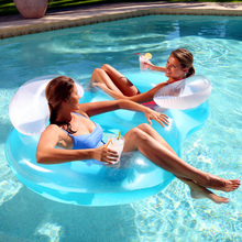 Cool Double Persons Inflatable Floating Row Giant Pool Floats Air Mattress Swimming Ring Sofa Drifting Sandy Beach Sunbathing