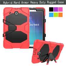 """Heavy Responsibility PC + TPU Cowl For Samsung Galaxy Tab E 9.6"""" Pill Case Full-body Armor Hybrid Defender Kickstand Protecting Pores and skin"""