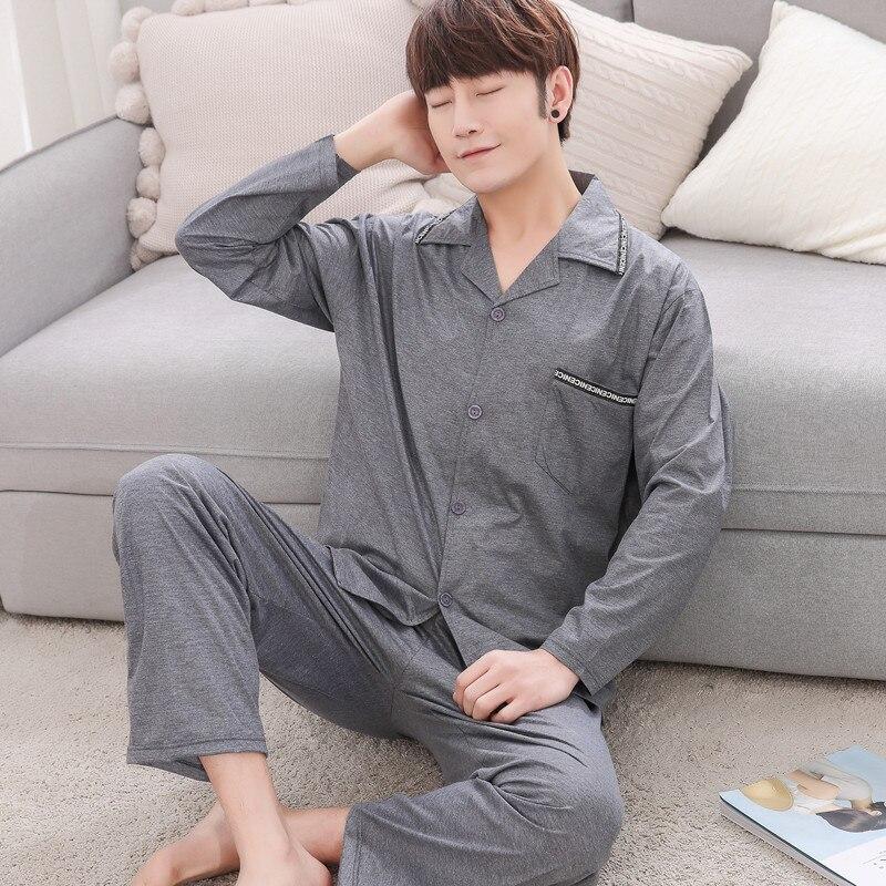 New Pajama Sets Men Spring 2018 Autumn Male Sleepwear Long Sleeve Length Pants Cotton Cardigan Lounge Set Plus Size 3XL