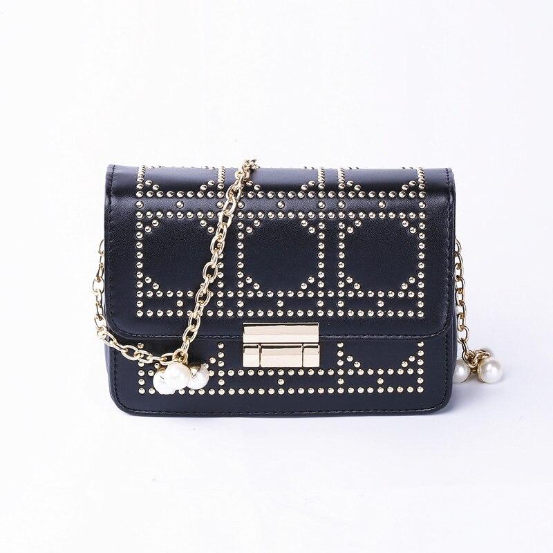 Лидер продаж высокое качество Дамская мода заклепки квадратная сумка жемчужный цепи мешок мини Сумки через плечо для Для женщин Сумки