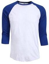 new Fashion 2016 hot sale summer autumn Men O-Neck 100% Cotton T-shirt Men's Casual 3/4 Sleeve Tshirt Raglan Jersey Shirt man