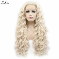 Sylvia Natural Long Curly Wigs Blonde Lace Front Wigs For Lady Cosplay Holidays Drag Queen Synthetic White Blonde Handmade Wigs