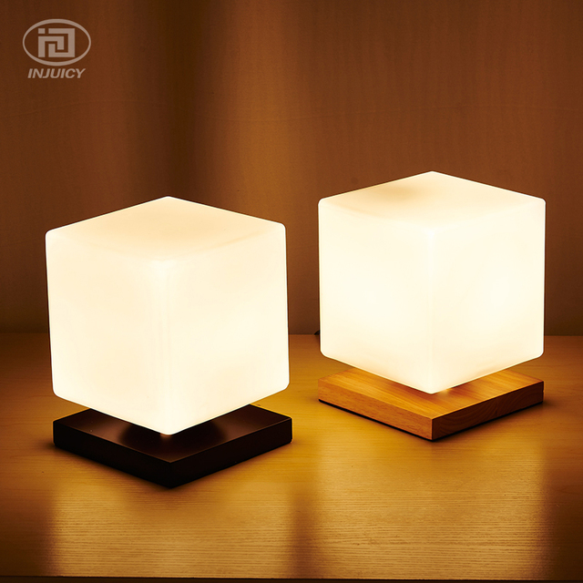 Modern simple real wood led desk lamp study office reading glass cube sugar adjustable table lamp
