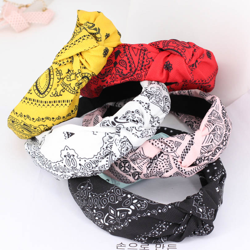 Haimeikang Women Fashio Satin Hair Headband Hair Hoop  Retro Ethnic Print Elastic Hair Band For Girls Head Band Hair Accessories
