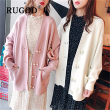 RUGOD New Korean pearl button women knitted cardigan Fashion mid length pocket auturm coat and sweater femme ropa invierno mujer