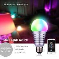 Bluetooth LED 270 Angle RGB Smart Light E27 Bulb Smartphone Controlled Dimmable Color Changing Lamp For