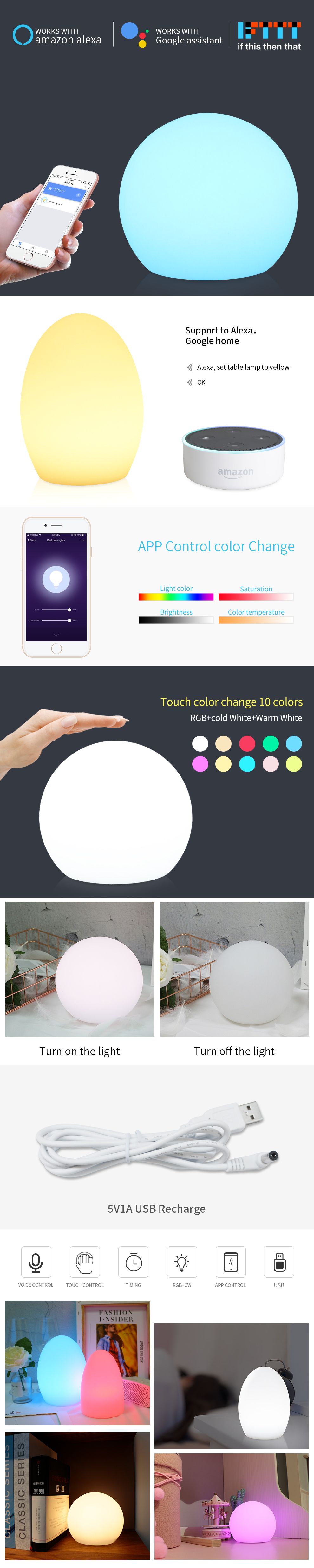 LED Night Light Compatible with Alexa Google Home Children Bedroom lights Colorful Moon Lamp