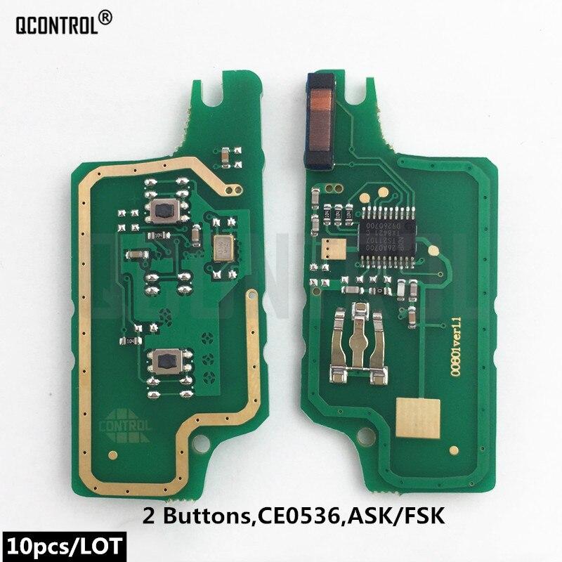 Carte électronique de clé à distance de voiture QCONTROL pour citroën C2 C3 C4 C5 Berlingo Picasso ID46 (CE0536 ASK/FSK, 2 boutons)