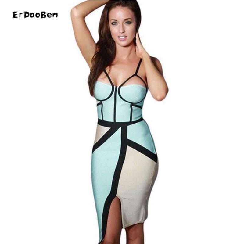 Hot femmes célébrité Bandage moulante robe nue blanc noir Patchwork dos nu fête bal Bandage robes Sexy Club V DR813