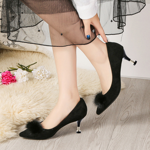 Image 2 - Lucyever 2019 New Shallow Women Pumps Pointed Toe Flock High Heels Ladies Shoes Sexy Thin Heeled Fur Ball Party Shoes Woman