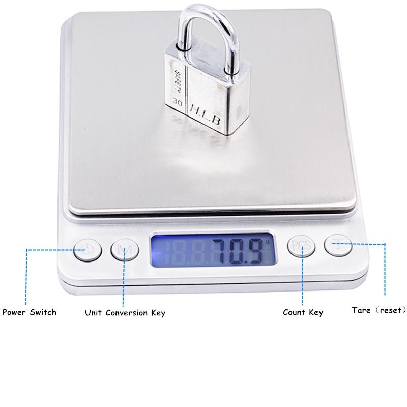 3000g x 0,1g Digitaalne taskuskaala 3kg 0.1 Juveeli kaalud - Mõõtevahendid - Foto 4