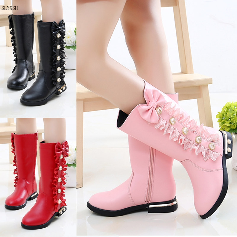 2019 Autumn Winter New Children Boots Girls PU Leather Boots Fashion  Boots High Children Princess Girls Shoes Size 27-37