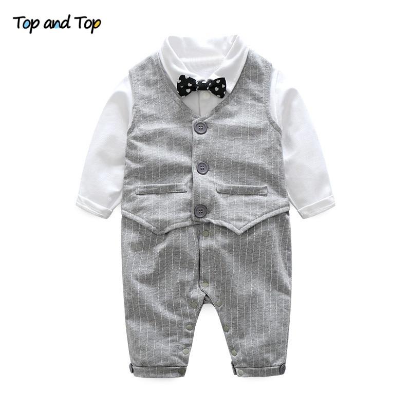 Топ и топ Комплекты одежды для маленьких мальчиков хлопок Длинные рукава Детские комбинезоны + жилет 2 шт./костюм в полоску одежда для малышей Одежда для маленьких мальчиков