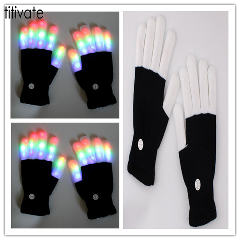 TITIVATE Magic Glove Rainbow Flash Fingertip Led See-through Gloves Light Up Glow Stick Mittens White Black For Men Women