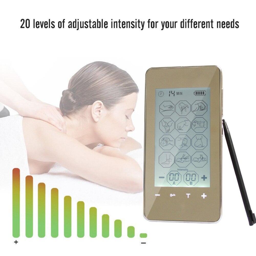 Thérapie musculaire Stimulation dix unités 12 Modes-Massage électrique soulagement de la douleur réglable léger écran LCD argent Greye santé