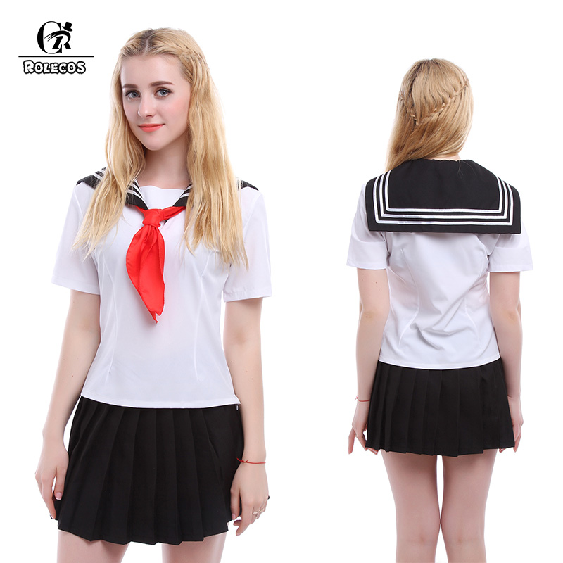 ROLECOS New White Navy Uniformes escolares para niñas de manga corta - Disfraces