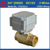 DC12V 24V Two Way 3 4 Full Port Electric Brass Valve 2 Wires For Water Heating