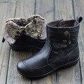 Sapatas das mulheres Austrália Botas De Pele Preto/Brown Genuine Deslizamento De Couro no Tornozelo Plana Botas de Inverno Mulher Botas Sapatos (858-5)