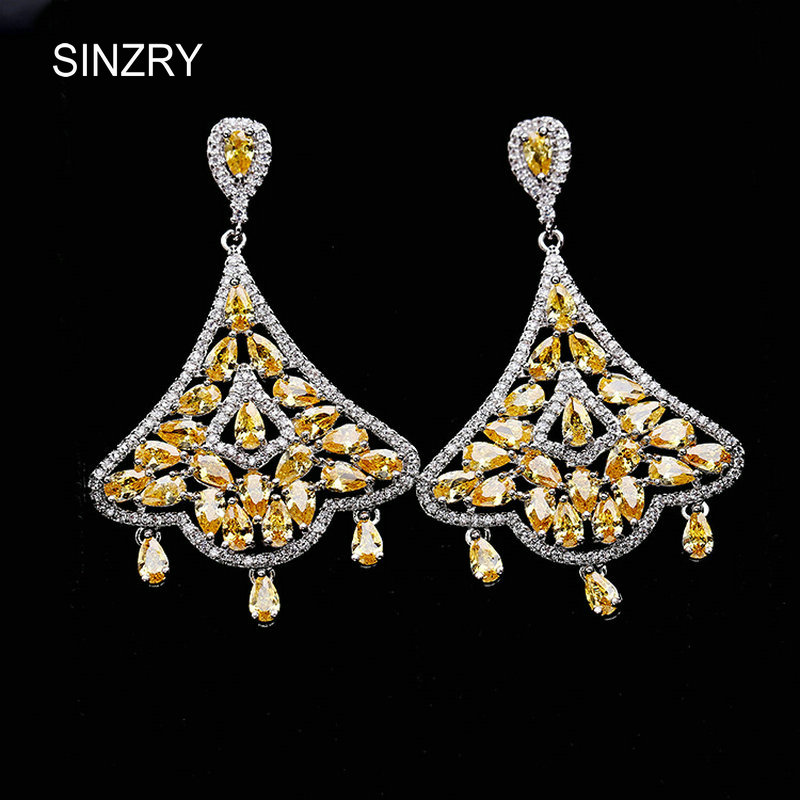 Sinzry Yellow Cubic Zirconia Palace Dangle Earrings Vintage Tel Luxury Bridal Costume Jewelry Accessory In Drop From