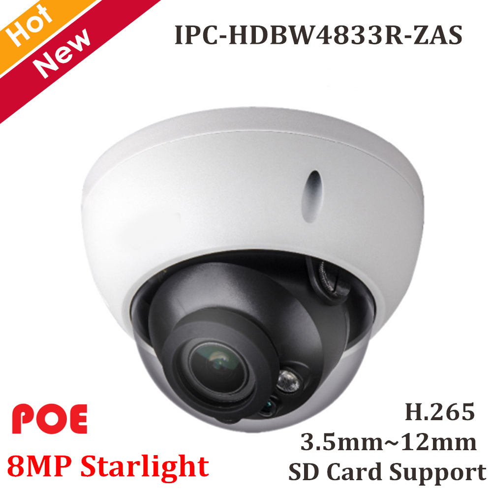 Original 8mp Starlight IP camera IPC HDBW4833R ZAS H 265 Variable Lens 3 5mm 12mm Support