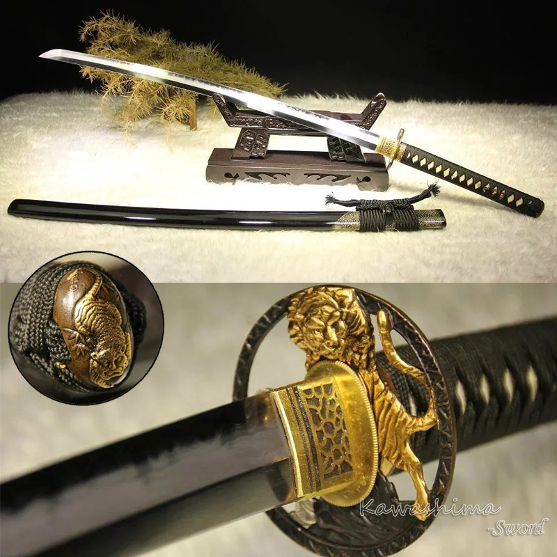 Grade A Japanese Hand Polished Katana Sword Damascus Forged Clay Tempered  With Real Hamon Blade Tiger Tsuba