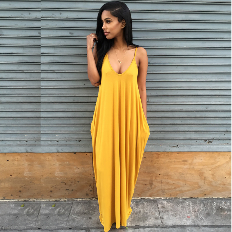 2016 New Spaghetti Strap Long Maxi Dress Red Yellow Gray Pocket Summer Dress  Plus Size Women Clothing Casual Loose Women Dress-in Dresses from Women s  ... 73412b54e84f