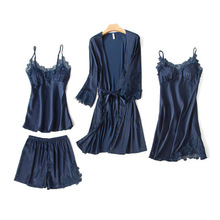 Fashionable Women's Suit Robe+Suspender+Cami Top+Shorts 4pcs Satin Pajama Set Sexy Women Pyjamas Sleepwear Lace Nightie Homewea lace insert cami pajama set with robe
