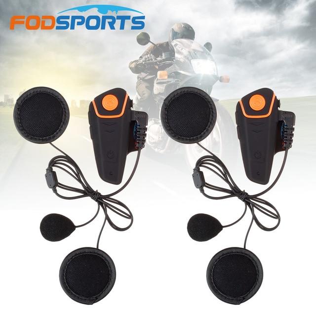 Fodsports BT S2 Pro Moto rcycle Mũ bảo hiểm tai nghe liên lạc nội bộ Moto bluetooth không dây chống nước interphone bằng FM mềm Micro