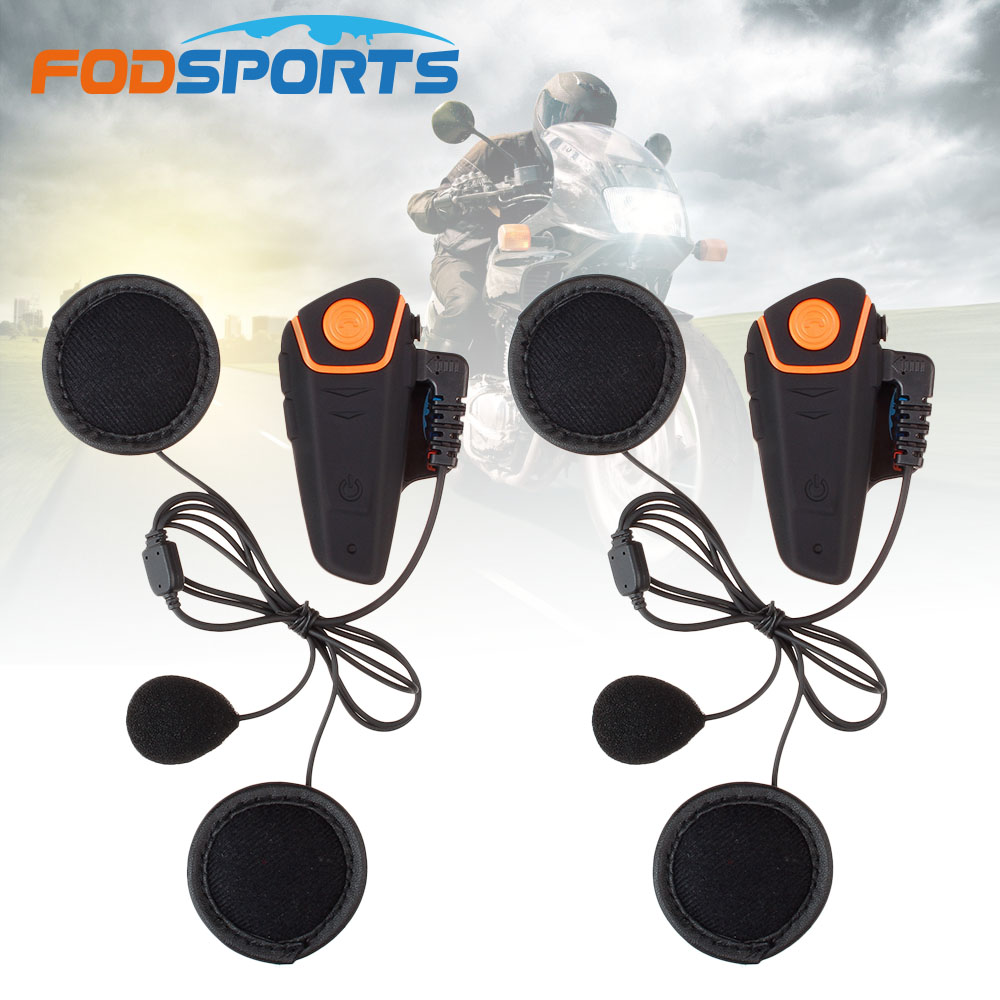 Fodsports BT-S2 Pro Motorcycle Helmet Headset Intercom Moto Wireless Bluetooth Waterproof Interphone With FM Soft Microphone