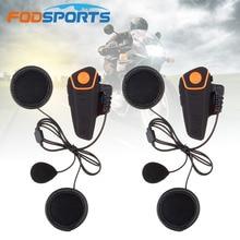 Fodsports BT S2 pro moto rcycle capacete fone de ouvido interfone moto sem fio bluetooth à prova dwireless água com fm microfone macio