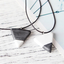 Trendy White and Black Triangle Pendant Necklace For Lover Simple Style Ceramic Charm Necklaces Couple Jewelry