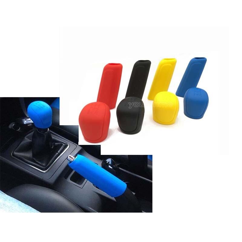 1 Set Universal Car Silicone Shift Cover Gear Head Knob Shift Shifter Handbrake Grip Cover Skin