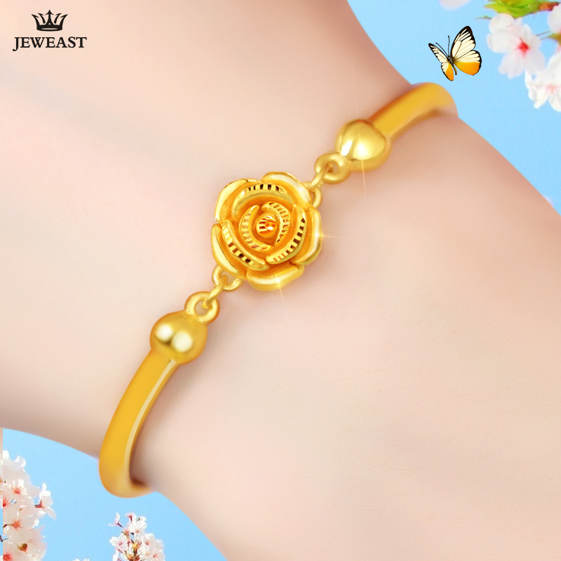 24 K Pur bracelet en or Réel 999 Bracelet En Or Massif Solide belle rose Romantique À La Mode Élégant Classique Bijoux Vente Chaude Nouveau 2018