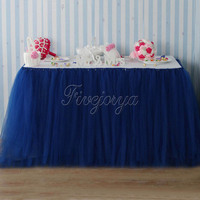 Customize Navy Blue Table Skirt For Wedding Decoration Tulle Tutu Skirt Home Textile Party Baby Shower