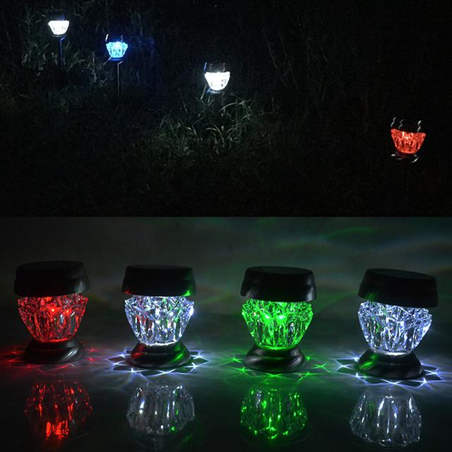 U-EASY 4 PC Color-changing Solar led Light Waterproof LED Solar Light Outdoor for Garden Fence Village Villa Decoration