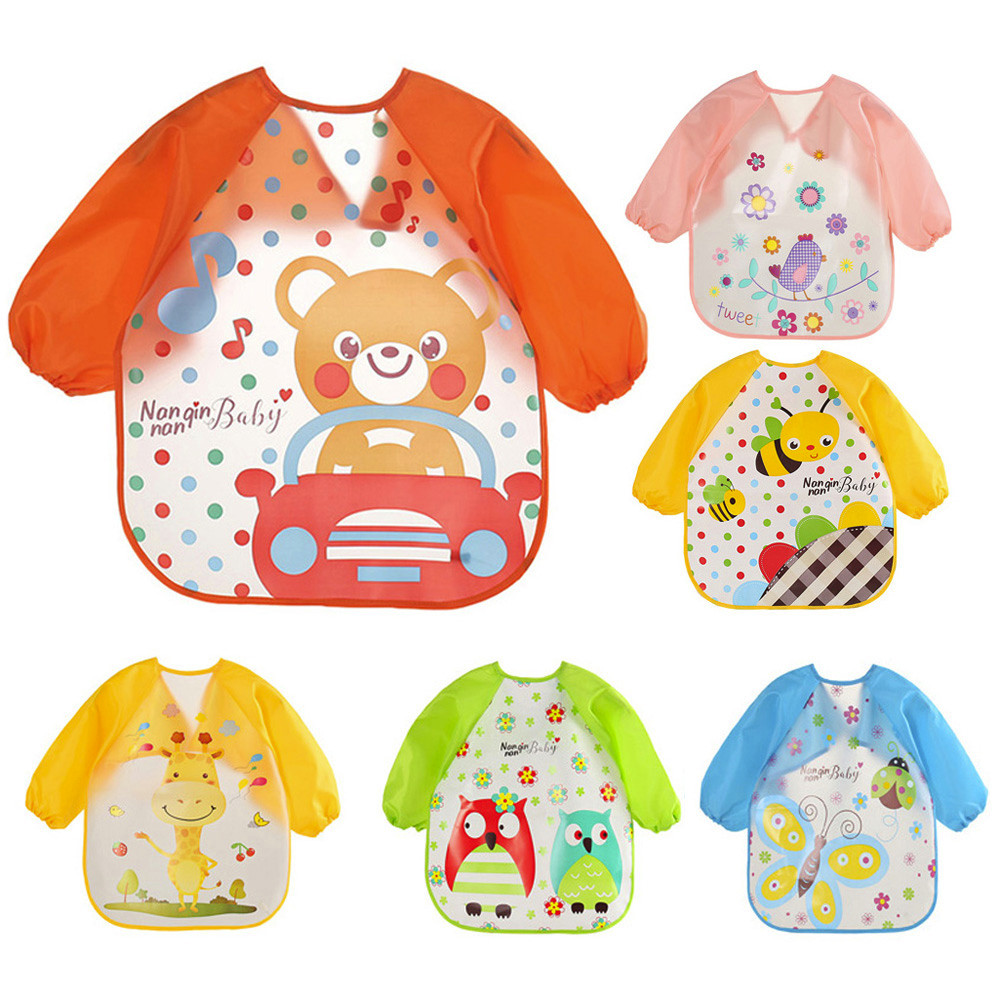 Baby Bibs Waterproof Long Sleeve Apron slabbetjes Children Feeding Smock Bib Burp Clothes Soft Eat baberos bebek Dripping bavoir(China)