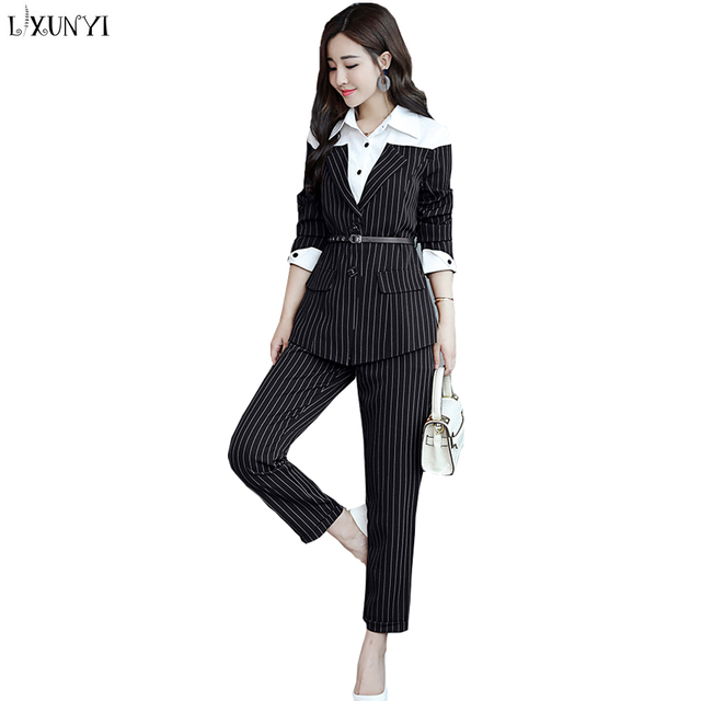 Lxunyi 2019 Women s Pants Suit Spring Autumn Casual Striped Blazer Pants  Sets 2 Piece Fashion Business Office Lady Suits 05aaf16b8b