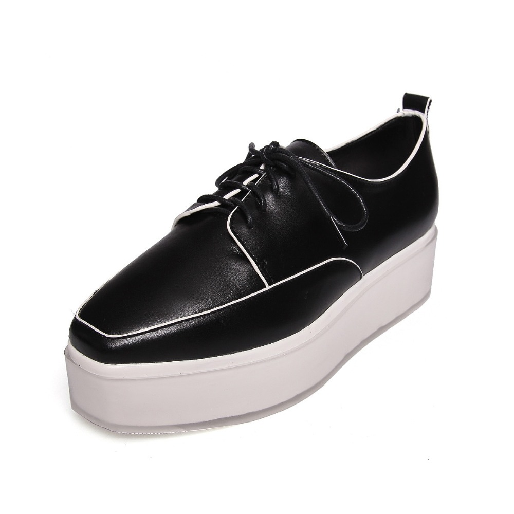 New women shoes fashion Genuine Leather Spring/Autumn Casual shoes Lace-Up Loafers shoes heavy-bottomed platform white shoes new women shoes fashion genuine leather spring autumn casual shoes lace up loafers shoes heavy bottomed platform white shoes