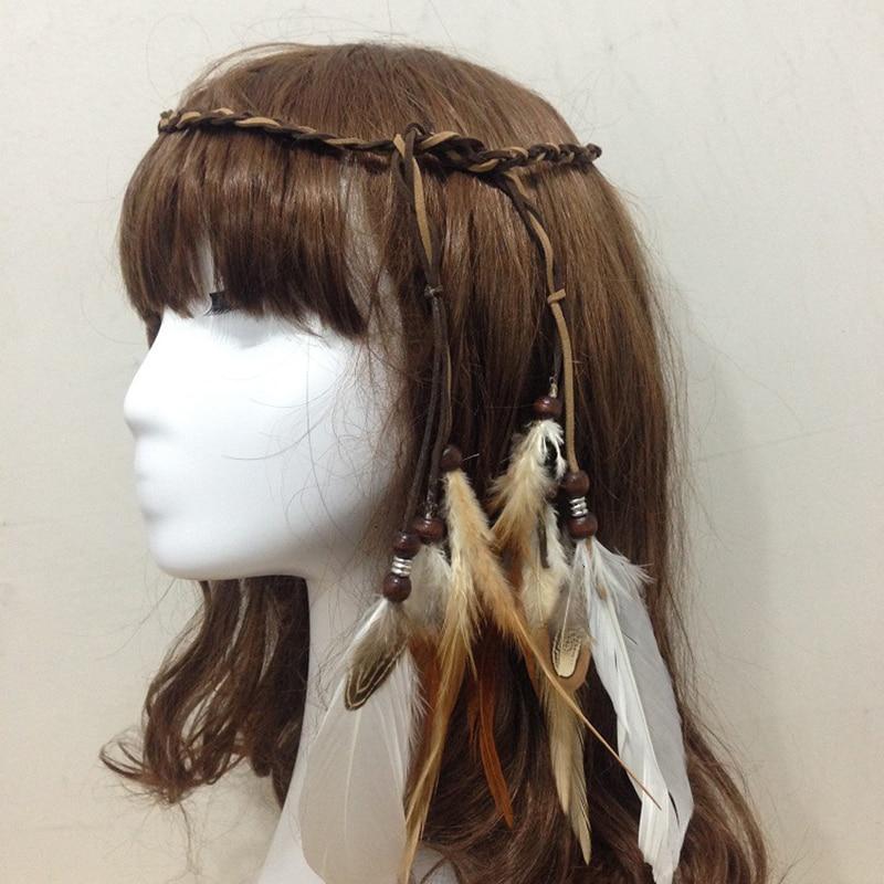 NEW 1Pc Fashion Bohemia Feather Tassel Headband For Women Girl Hair Band Headwear Indian Style Hair Accessories Beach Headdress